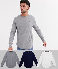 Hollister 3 Pack Icon Logo Long Sleeve Tops In White Grey Navy Multi