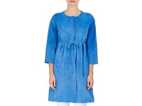 Lisa Perry Suede Drawstring Coat Blue