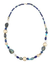 Alexis Bittar Chrysocolla Lapis And Turquoise Beaded Necklace Multi
