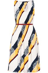 Raoul Picadilly Pleated Printed Stretch Crepe Dress White