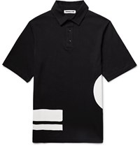 Mcq By Alexander Mcqueen Printed Cotton Jersey Polo Shirt Black