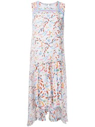 Peter Pilotto Pleated Trim Printed Dress White