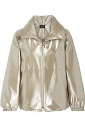 Akris Veronique Metallic Wool Blend Taffeta Jacket Us10