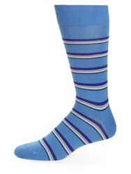 Paul Smith Fine Neon Stripe Dress Socks Navy Blue