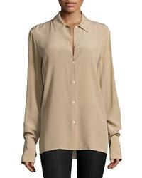 The Row Nolta Long Sleeve Button Front Blouse Heather Stone
