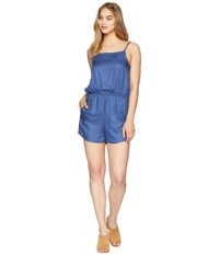Rvca Lily Woven Romper Navy Shorts