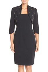 Adrianna Papell Stretch Crepe Sheath Dress And Beaded Bolero Black