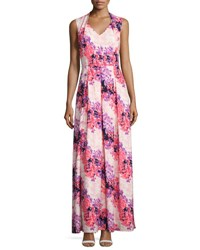 Tahari By Arthur S. Levine Floral Print Sleeveless Maxi Dress Multi Pattern