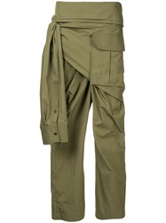 Juun.J Side Tie Trousers Green