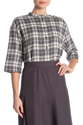 Lafayette 148 New York Cecilia Plaid Print Blouse Black Multi