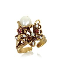 Alcozer And J Rings Butterfly Brass Ring W Glass Pearl