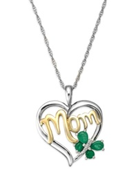 Macy's Emerald 3 8 Ct. T.W. And Diamond Accent 'Mom' Pendant Necklace In 14K Gold And Sterling Silver