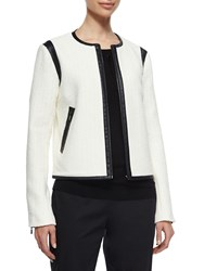 Magaschoni Boucle Jacket W Faux Leather Trim Ivory
