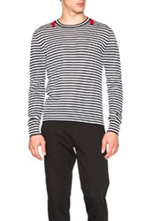 Moncler Crewneck Sweater In White Blue Stripes