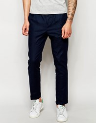 Lindbergh Cropped Trousers With Pleated Front In Blue Blue