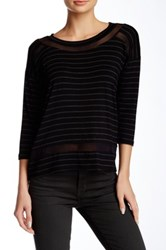 Cable And Gauge 3 4 Sleeve Stripe Tee Petite Black