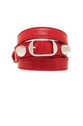 Balenciaga Giant Triple Wrap Bracelet With Nickel Hardware In Red