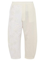 By Walid Rhydian Floral Embroidered Cotton Trousers Beige
