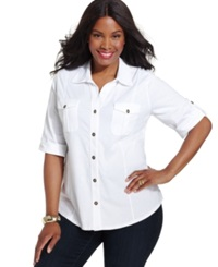 Style And Co. Plus Size Three Quarter Sleeve Utility Shirt Bright White