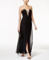 Betsy And Adam B A By Strapless Embellished Gown Black