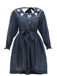 Innika Choo Don B. Baad Embroidered Ramie Mini Dress Navy