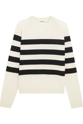 Jil Sander Striped Cashmere Sweater White