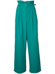 G.V.G.V. Pleated Wide Trousers Women Polyester 36 Green