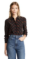 Baldwin Denim Nora Button Down Shirt Red Calico Roses
