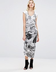Religion Skull Maxi Dress White Solar Skull Grey