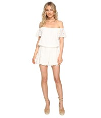 Bb Dakota Liam Lace Off Shoulder Romper Ivory Women's Jumpsuit And Rompers One Piece White