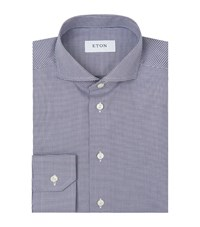Eton Slim Fit Micro Hounds Tooth Shirt Male Grey