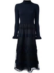 Red Valentino Lace Skirt Sweater Dress Blue