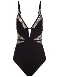 Evarae Black Triangle Panel Swimsuit Cream