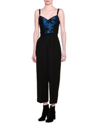 Stella Mccartney Brocade Bustier Wool Jumpsuit Black Blue