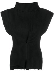 Unravel Project Roll Neck Asymmetric Knit Top Black