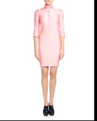 Balenciaga Fitted 3 4 Sleeve Spandex Polo Dress Pink