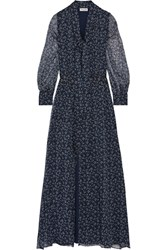 Paul And Joe Pussy Bow Printed Silk Crepon Maxi Dress Navy