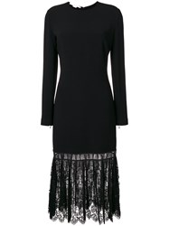 Stella Mccartney Pleated Lace Hem Dress Cotton Polyester Spandex Elastane Viscose Black