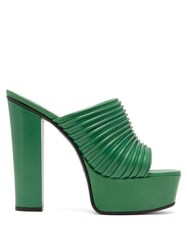 Givenchy Ribbed Leather Platform Mules Green