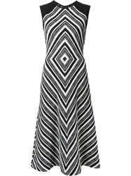 Martin Grant Geometric Pattern Flared Dress Black