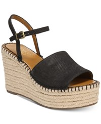 Franco Sarto Tula Platform Espadrille Wedge Sandals Women's Shoes Black Leather