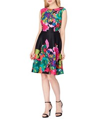 Tahari By Arthur S. Levine Floral Print A Line Dress Black Flame