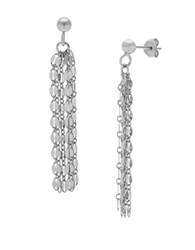 Lord And Taylor Sterling Silver Chain Tassel Earrings