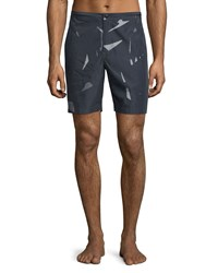 Theory Shatter Print Swim Trunks Night Black Men's