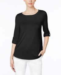 Cable And Gauge Tab Sleeve Top Jet Black