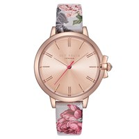 Ted Baker Te50267002 Women's Ruth Floral Leather Strap Watch Multi Rose Gold
