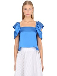 Antonia Goy Silk Satin Top With Ruffled Shoulders