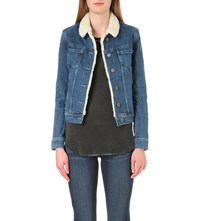 Paige Leo Faux Shearling And Denim Jacket Hyperion