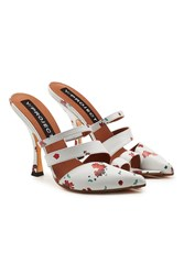 Y Project Open Toe Printed Leather Mules White