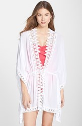 Lablanca Women's La Blanca 'Costa Brava' Crochet Trim Kimono Sleeve Cover Up White